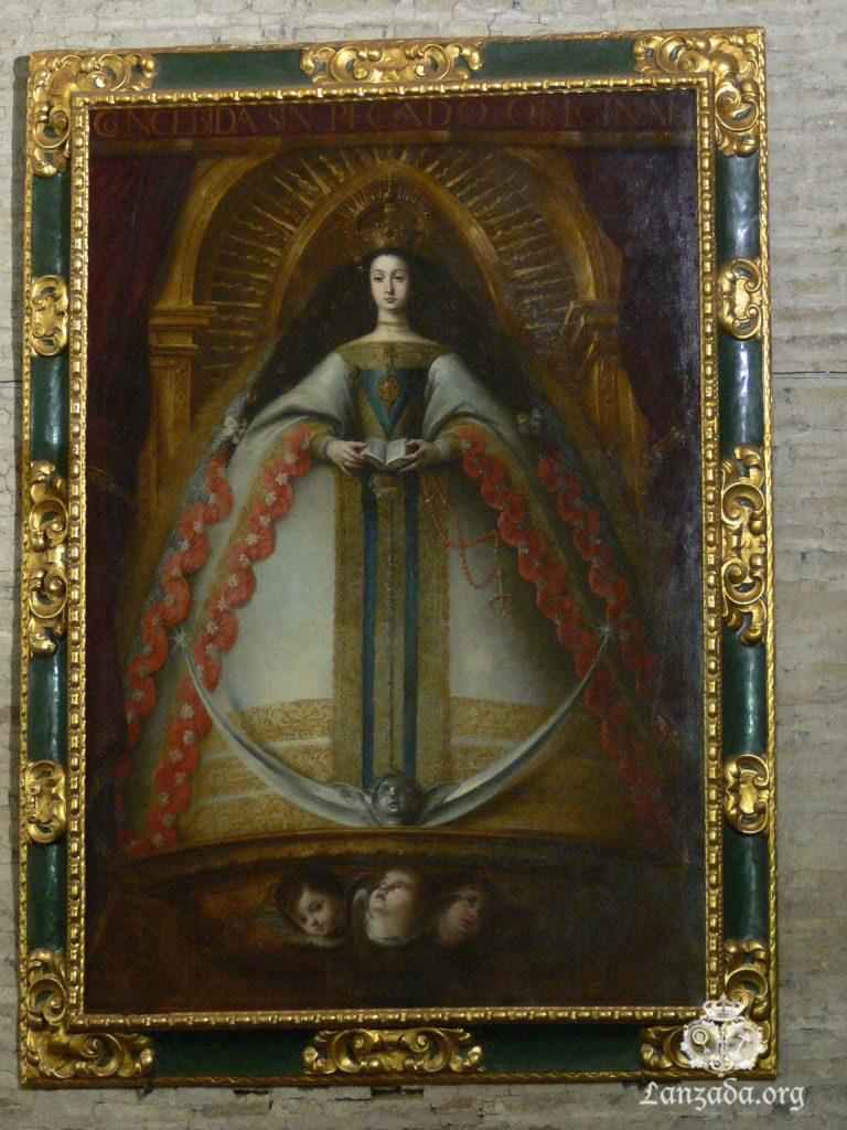 Cuadro de la Divina Enfermera presente en los pies del templo de San Martín